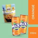 MOBICORN Premium Popcorn Crunchy Caramel 150g + Max+ Orange 330ml*2pcs(Bundle)