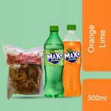 May Yi Cho Fried Potato Zakar Spicy 328g +  Max + Orange 500ml & Lemon Lime 500ml (Bundle)